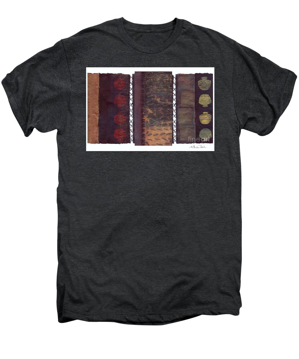 3panel Men's Premium T-Shirt featuring the painting Three Panel Transitional Page Format by Kerryn Madsen- Pietsch