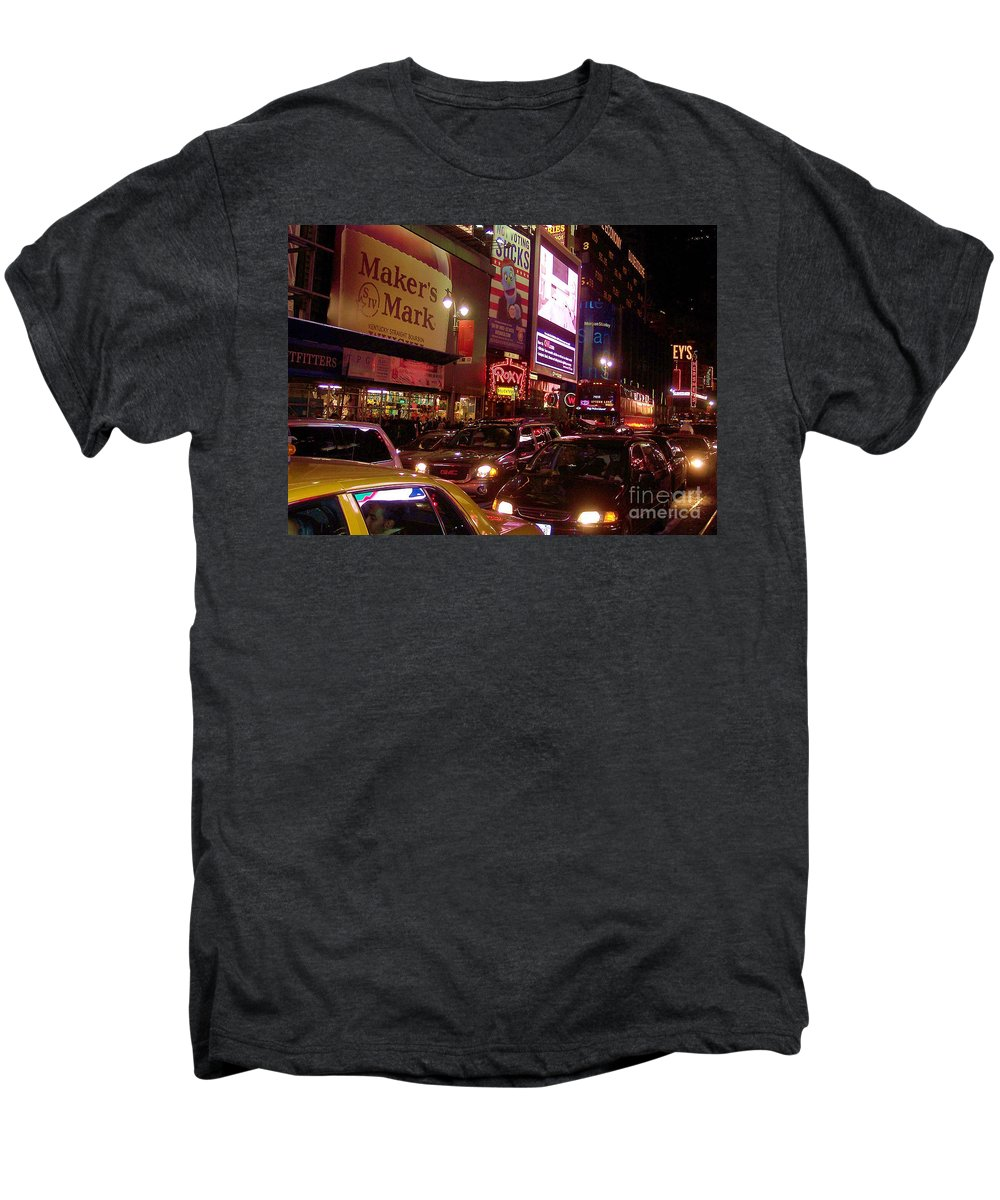 New York Men's Premium T-Shirt featuring the photograph Times Square Night by Debbi Granruth