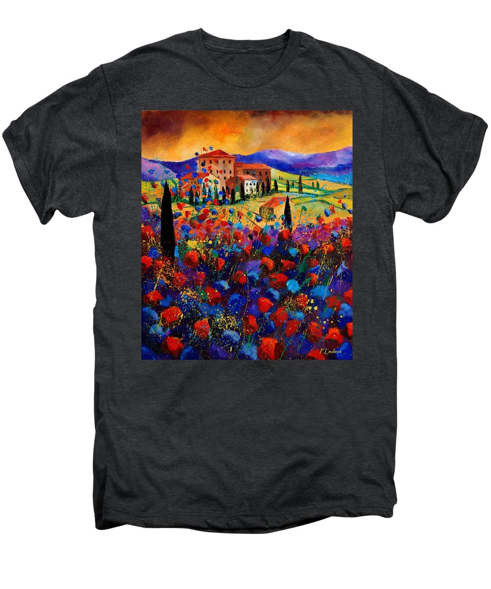Flowers Men's Premium T-Shirt featuring the painting Tuscany Poppies by Pol Ledent