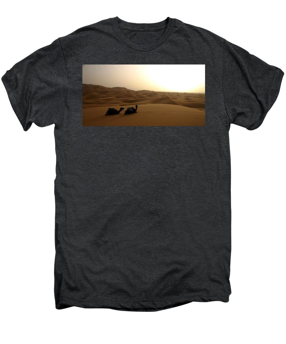 Camel Men's Premium T-Shirt featuring the photograph Two Camels At Sunset In The Desert by Ralph A Ledergerber-Photography
