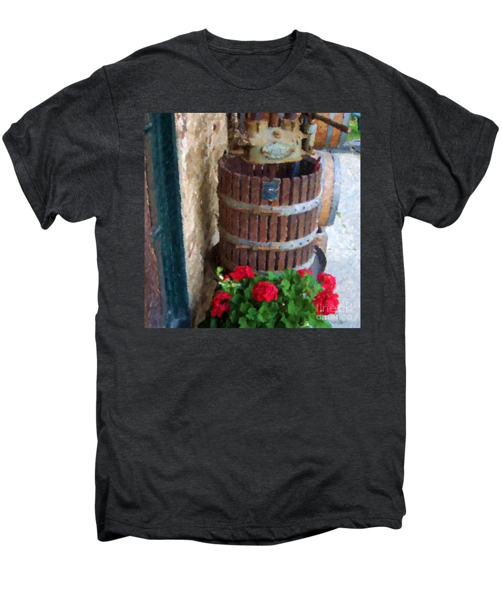 Geraniums Men's Premium T-Shirt featuring the photograph Wine And Geraniums by Debbi Granruth
