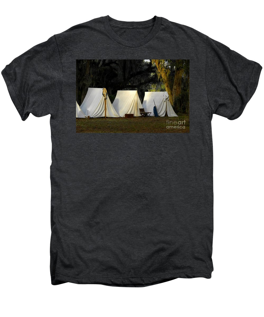 Army Tents Men's Premium T-Shirt featuring the photograph 1800s Army Tents by David Lee Thompson