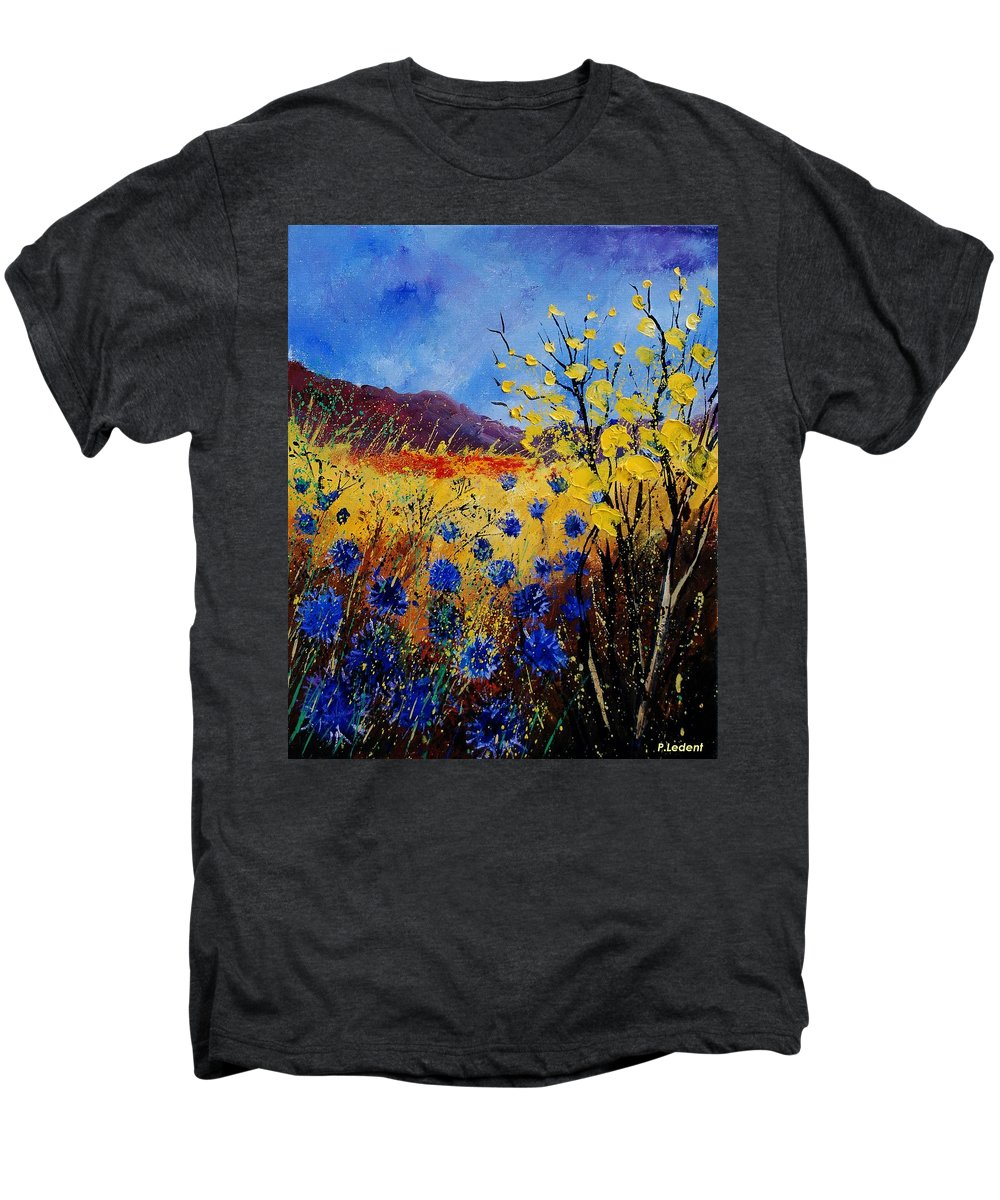 Poppies Flowers Floral Men's Premium T-Shirt featuring the painting Blue Cornflowers by Pol Ledent