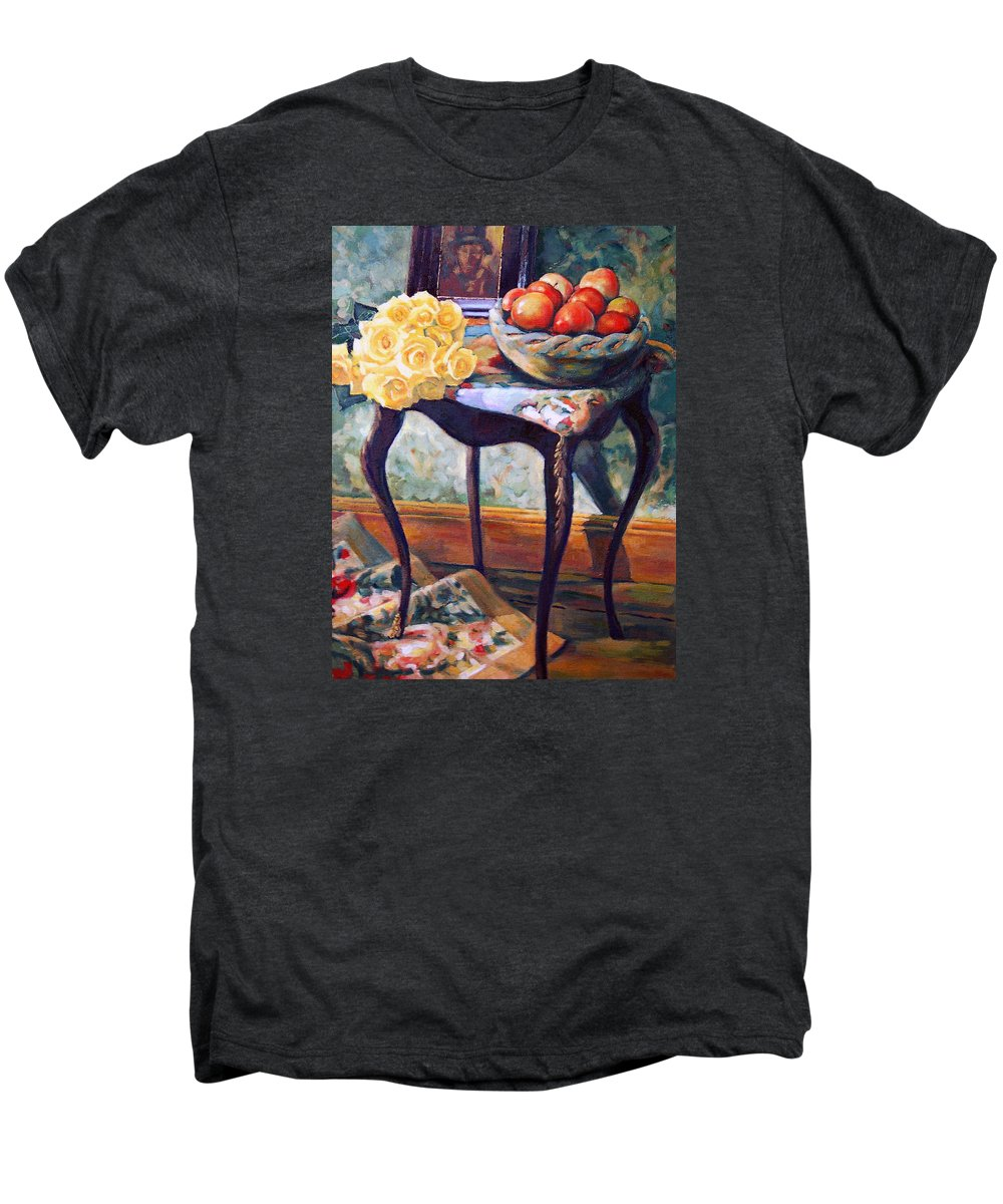 Still Life Men's Premium T-Shirt featuring the painting Still Life With Roses by Iliyan Bozhanov