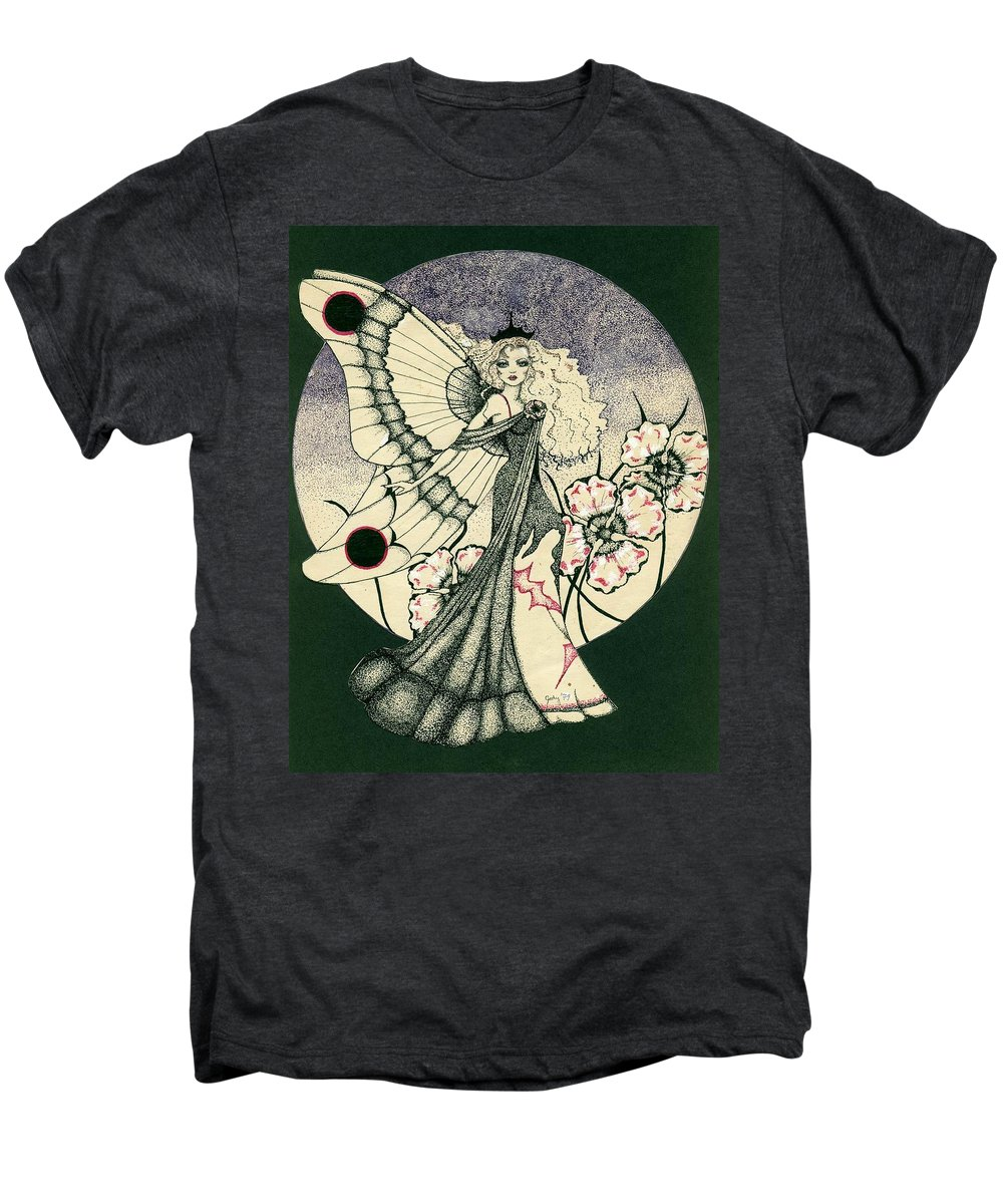 70's Style Men's Premium T-Shirt featuring the drawing 70's Angel by V Boge