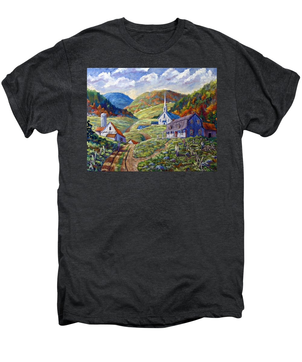 Landscape Men's Premium T-Shirt featuring the painting A Day In Our Valley by Richard T Pranke