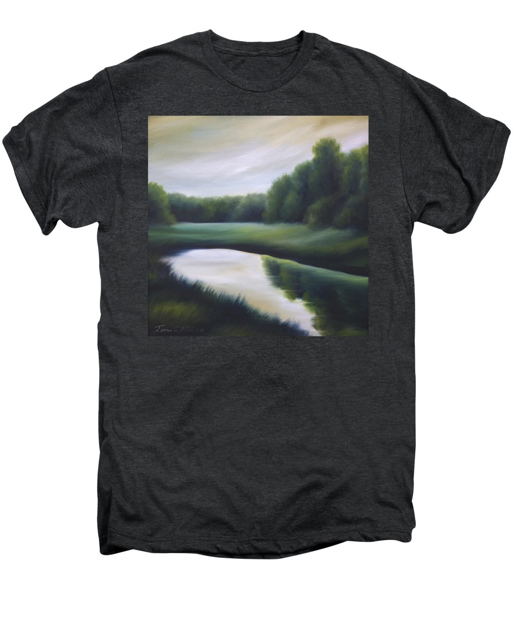 Nature; Lake; Sunset; Sunrise; Serene; Forest; Trees; Water; Ripples; Clearing; Lagoon; James Christopher Hill; Jameshillgallery.com; Foliage; Sky; Realism; Oils; Green; Tree Men's Premium T-Shirt featuring the painting A Day In The Life 3 by James Christopher Hill