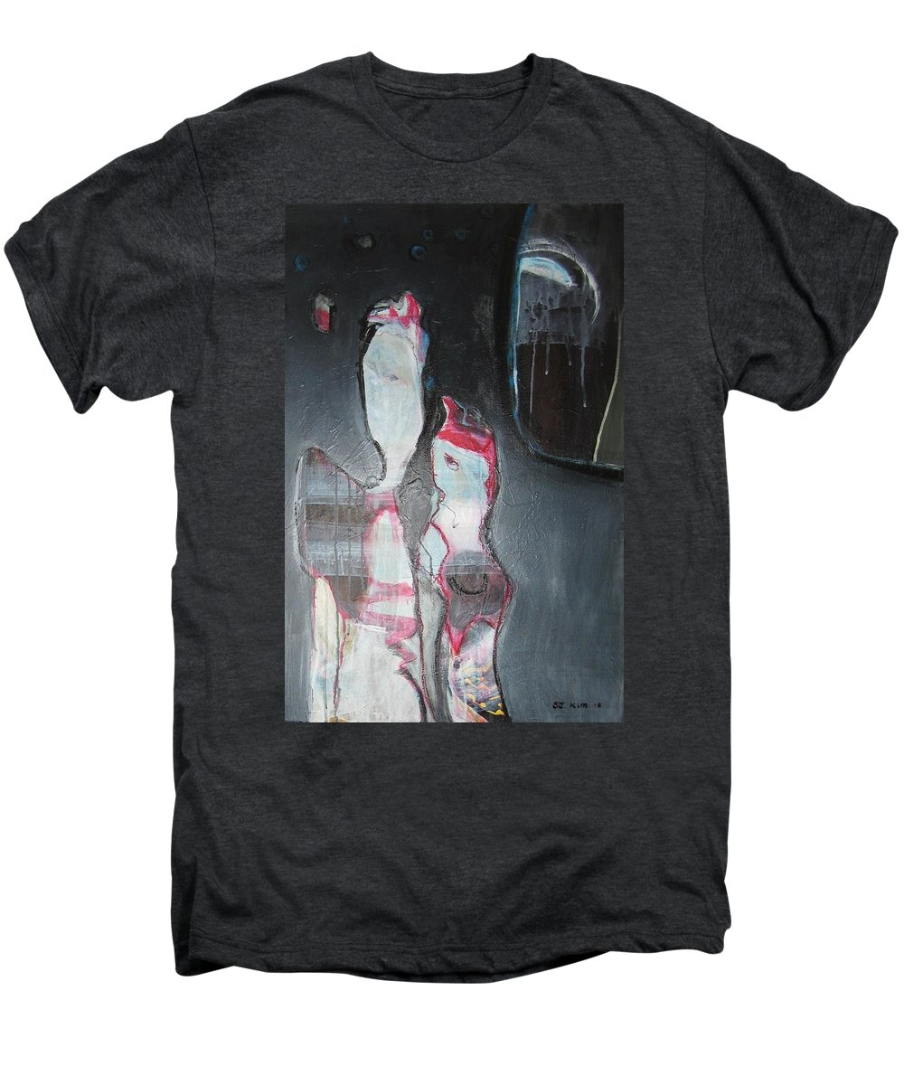 Abstract Paintings Men's Premium T-Shirt featuring the painting A Flase Rumor by Seon-Jeong Kim