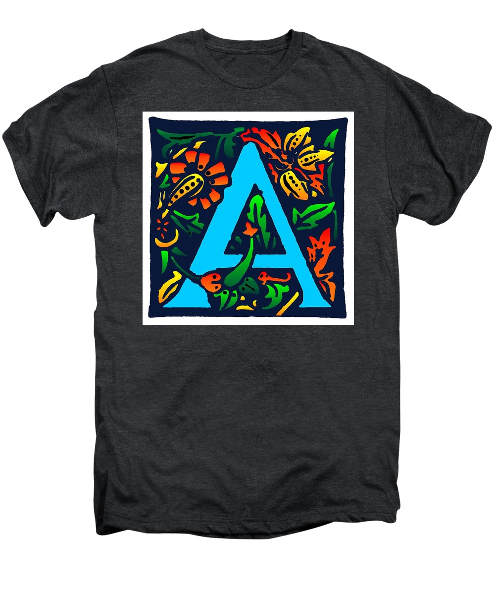 Alphabet Men's Premium T-Shirt featuring the digital art A In Blue by Kathleen Sepulveda