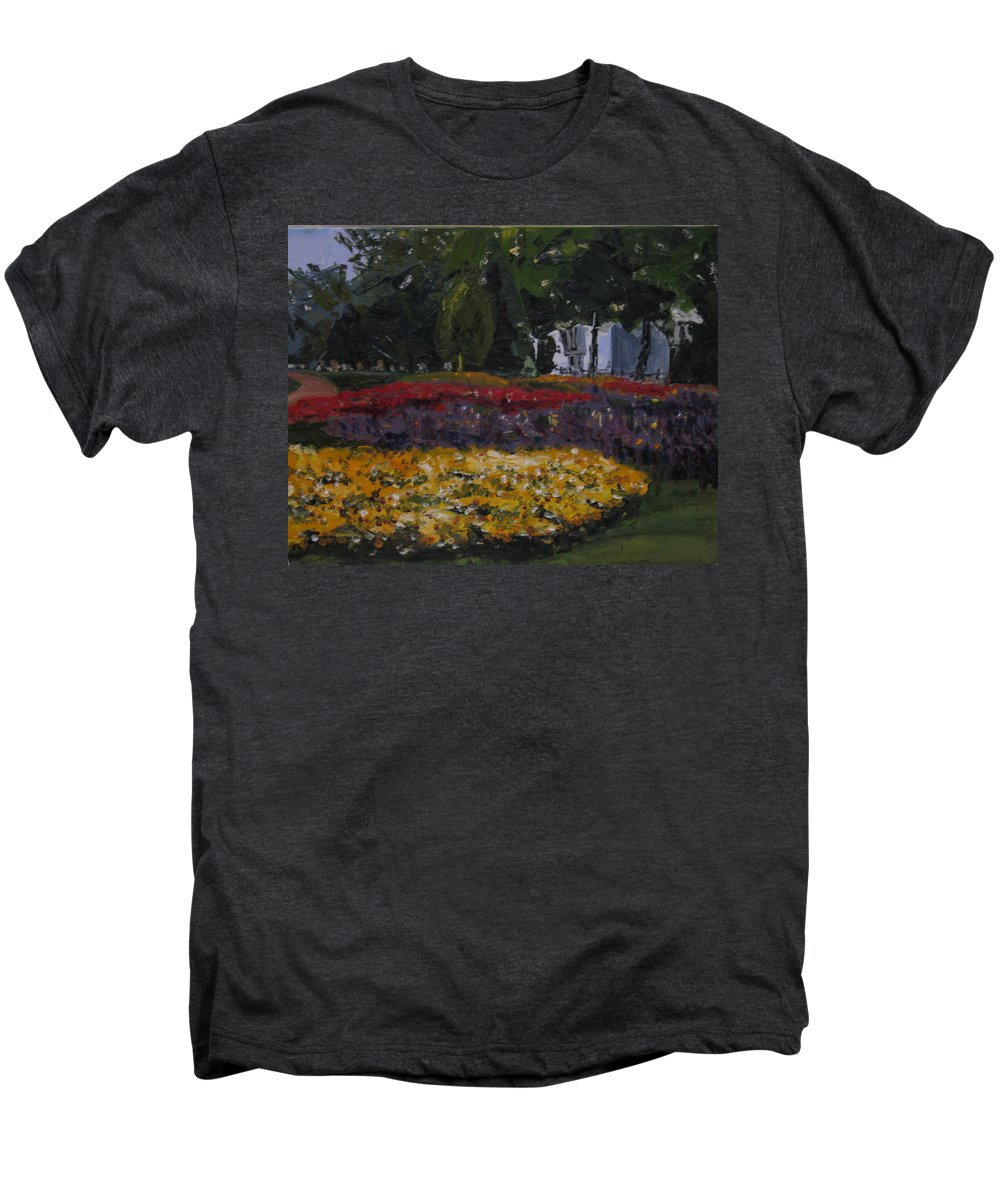Landscape Men's Premium T-Shirt featuring the painting A Park In Cambrige by Piety Choi