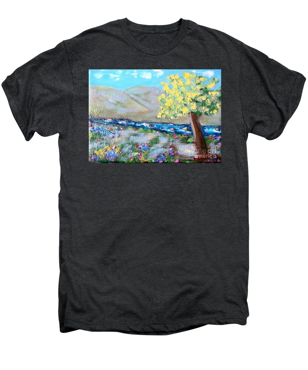 Landscapes Men's Premium T-Shirt featuring the painting A Quiet Place by Laurie Morgan