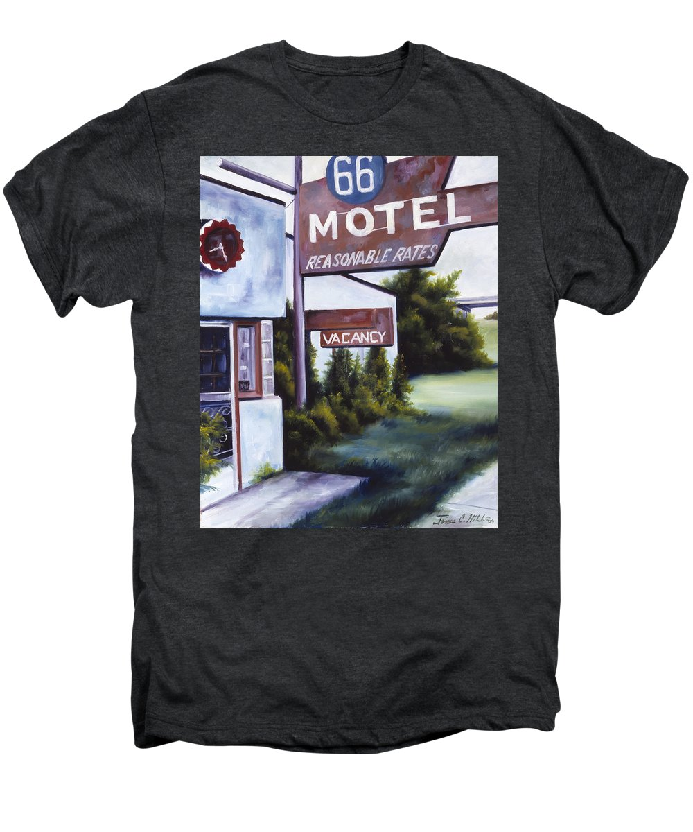 Motel; Route 66; Desert; Abandoned; Delapidated; Lost; Highway; Route 66; Road; Vacancy; Run-down; Building; Old Signage; Nastalgia; Vintage; James Christopher Hill; Jameshillgallery.com; Foliage; Sky; Realism; Oils Men's Premium T-Shirt featuring the painting A Road Less Traveled by James Christopher Hill