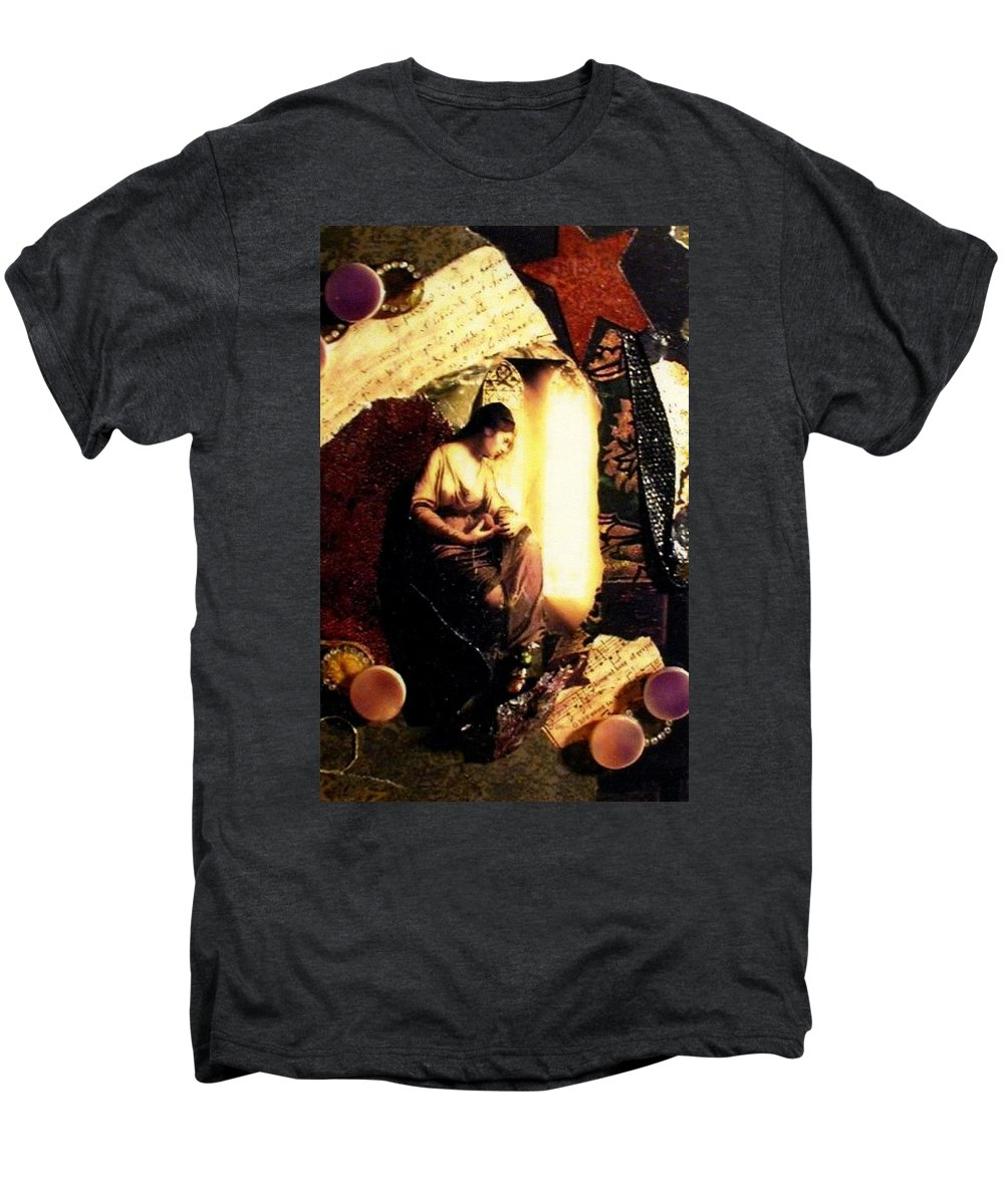Mixed Media Men's Premium T-Shirt featuring the mixed media A Secret Place by Gail Kirtz