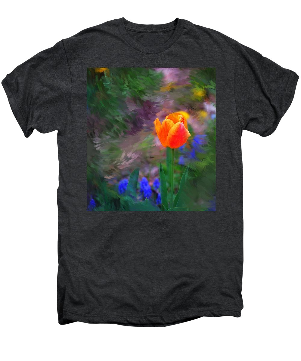 Floral Men's Premium T-Shirt featuring the digital art A Tulip Stands Alone by David Lane