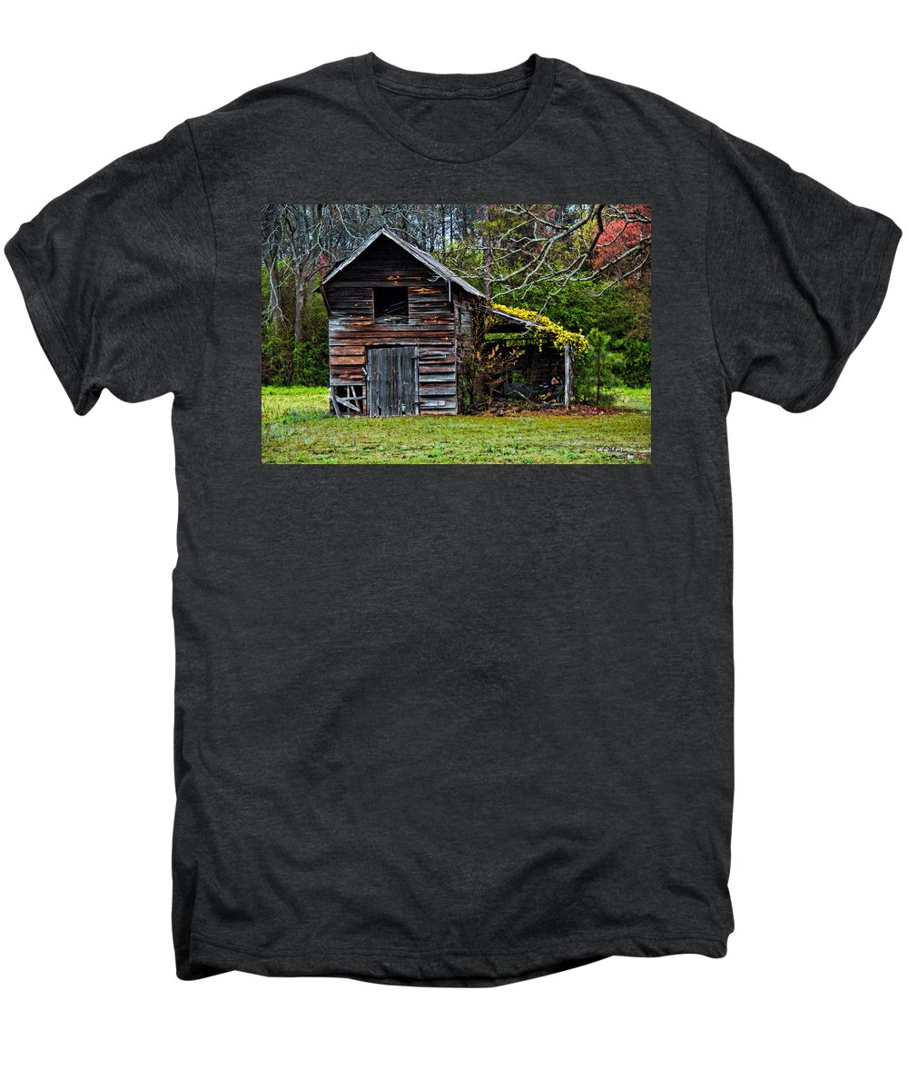 Barn Men's Premium T-Shirt featuring the photograph A Yellow Cover by Christopher Holmes