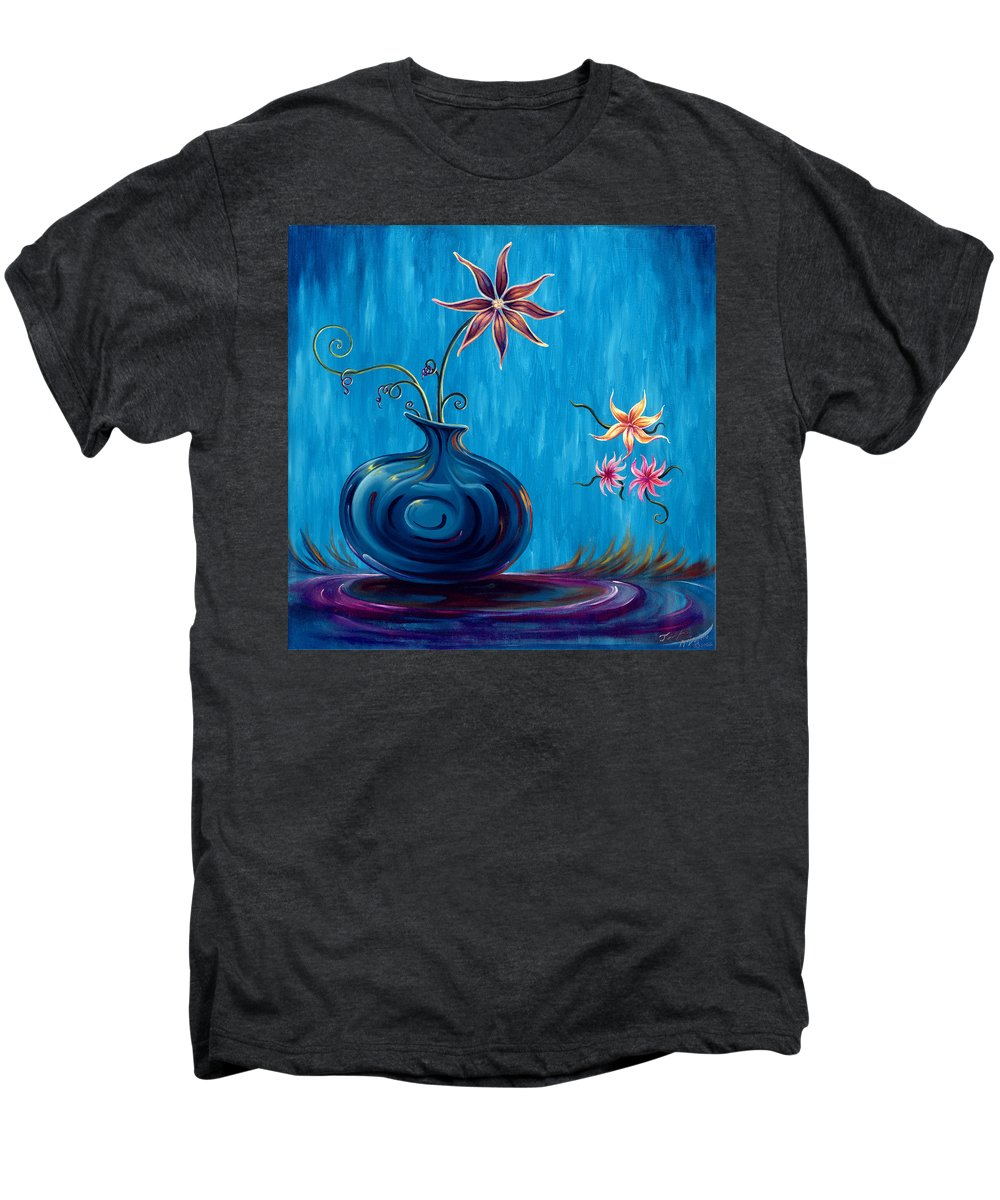 Fantasy Floral Scape Men's Premium T-Shirt featuring the painting Aloha Rain by Jennifer McDuffie