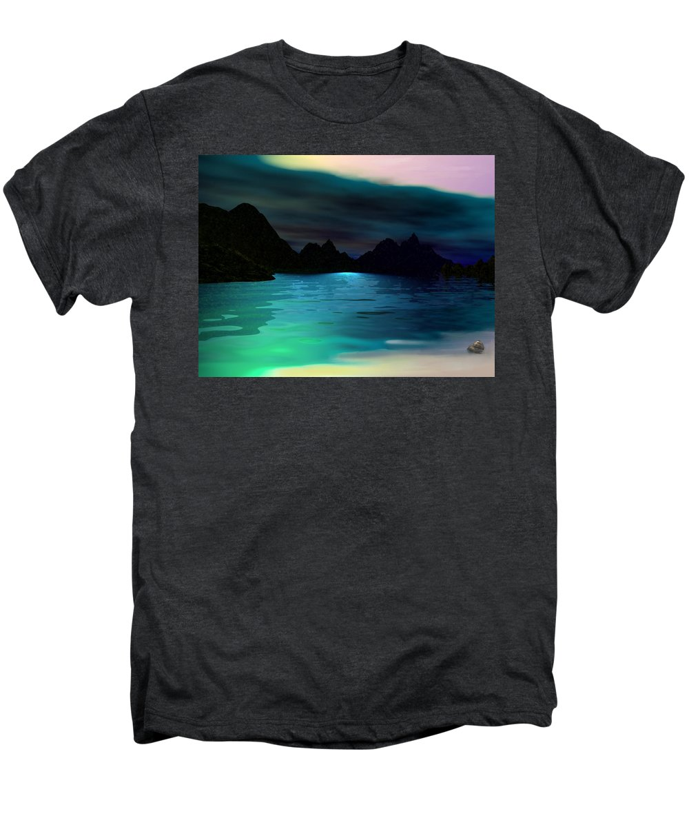 Seascape Men's Premium T-Shirt featuring the digital art Alone On The Beach by David Lane