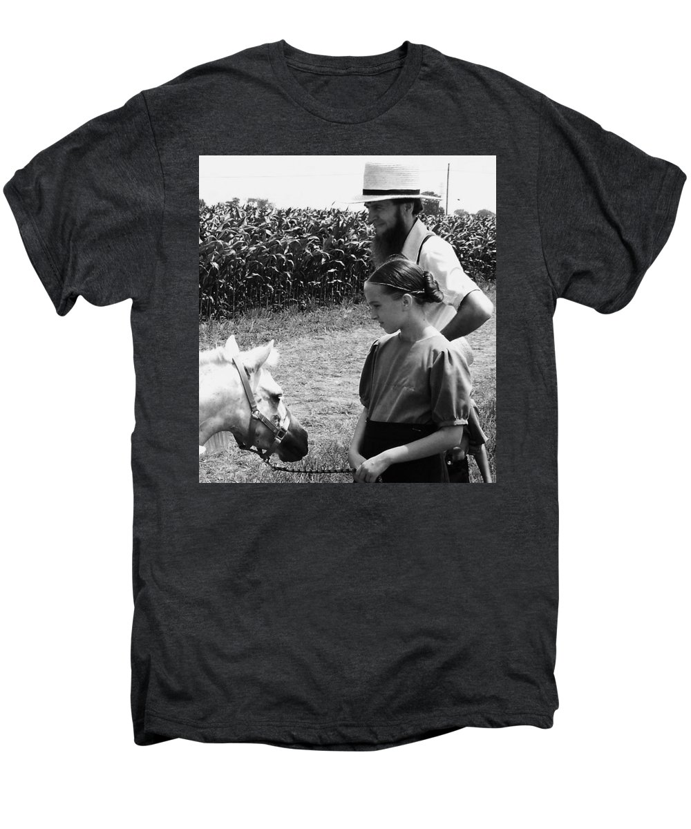 Amish Men's Premium T-Shirt featuring the photograph Amish Girl And Pony by Eric Schiabor