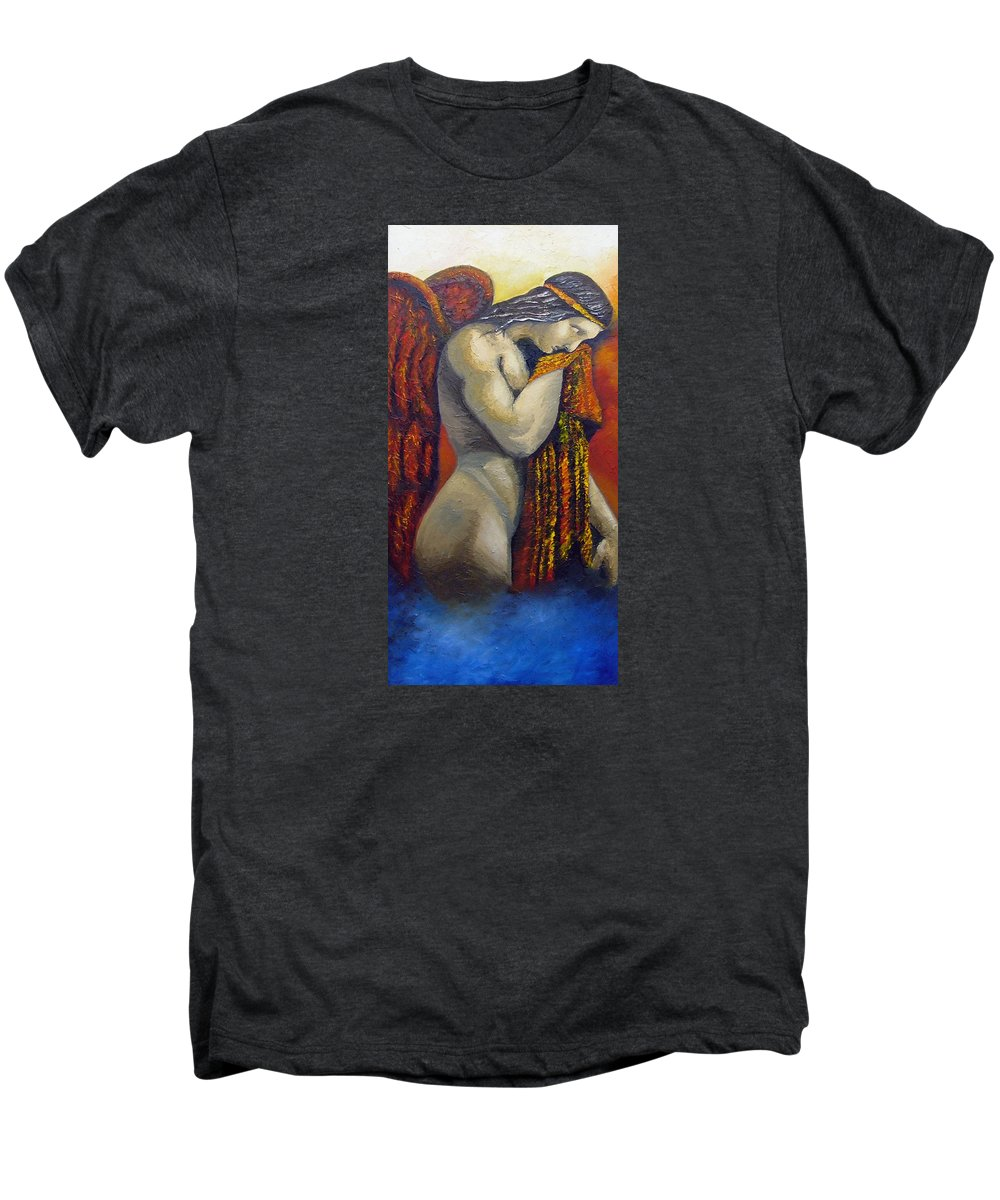 Angel Men's Premium T-Shirt featuring the painting Angel Of Love by Elizabeth Lisy Figueroa