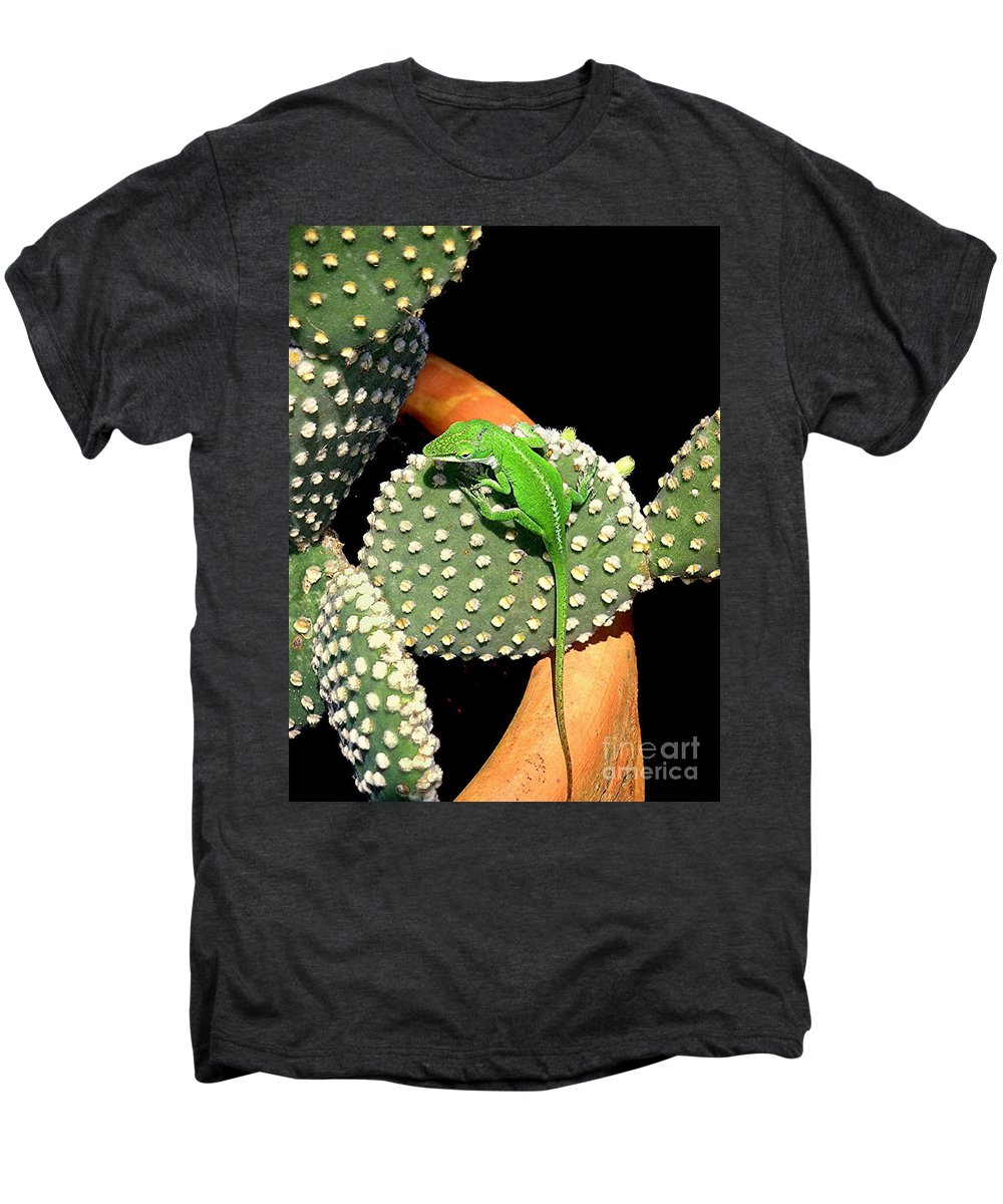 Nature Men's Premium T-Shirt featuring the photograph Anole Hanging Out With Cactus by Lucyna A M Green
