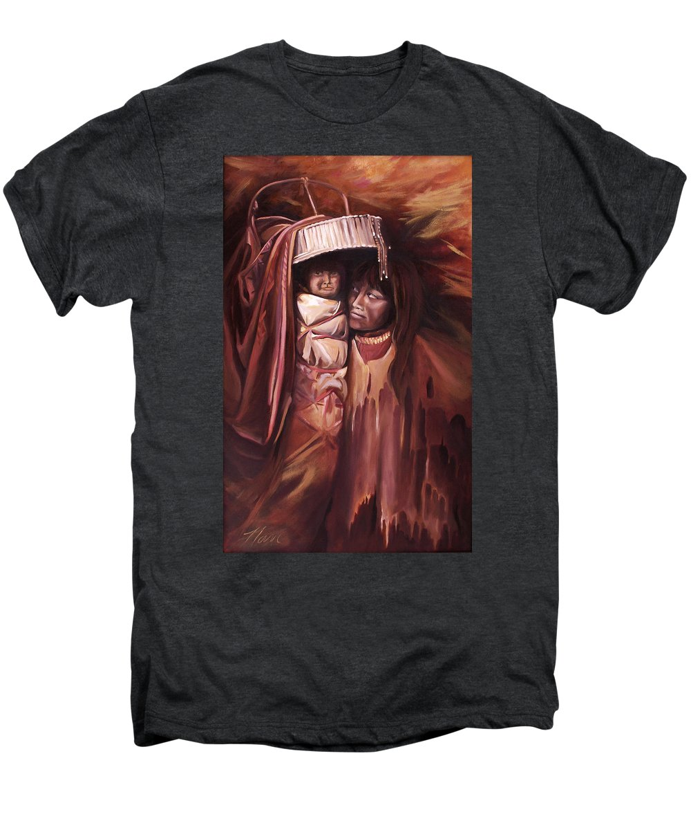 Native American Men's Premium T-Shirt featuring the painting Apache Girl And Papoose by Nancy Griswold