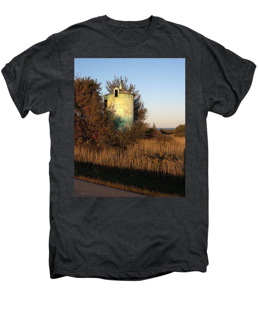 Silo Men's Premium T-Shirt featuring the photograph Aqua Silo by Tim Nyberg