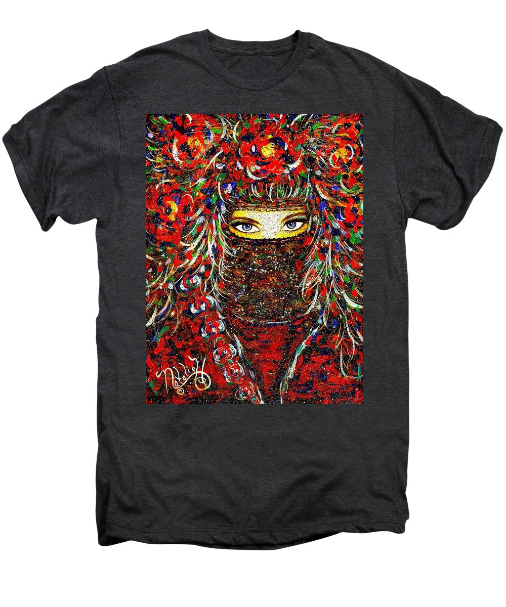 Woman Men's Premium T-Shirt featuring the painting Arabian Eyes by Natalie Holland
