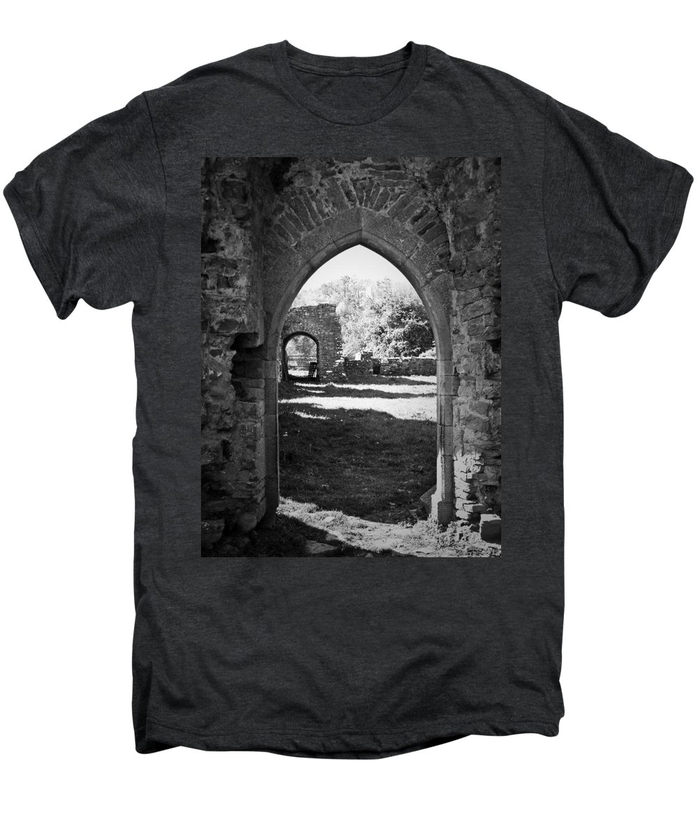 Irish Men's Premium T-Shirt featuring the photograph Arched Door At Ballybeg Priory In Buttevant Ireland by Teresa Mucha