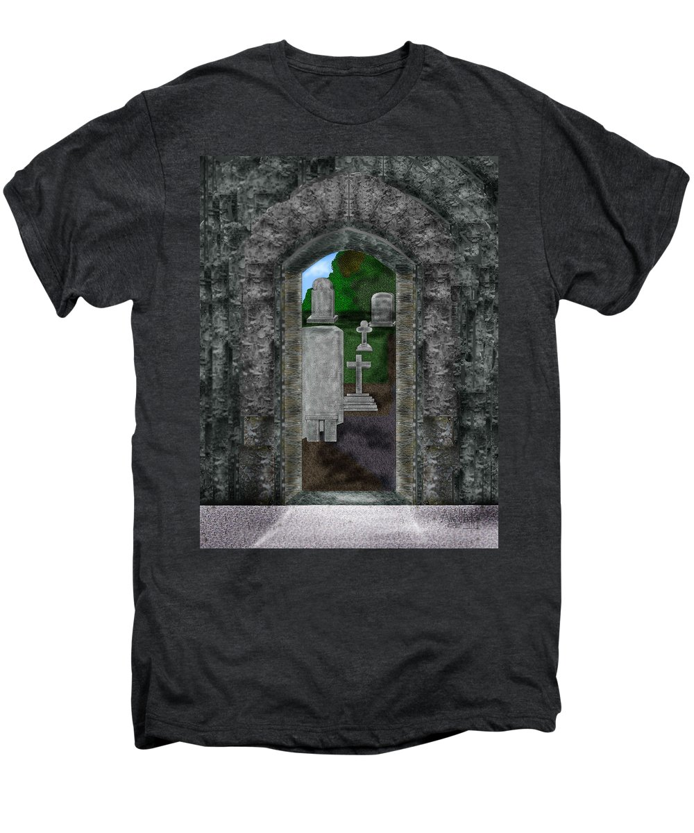 Digital Landscape Men's Premium T-Shirt featuring the painting Arches And Cross In Ireland by Anne Norskog