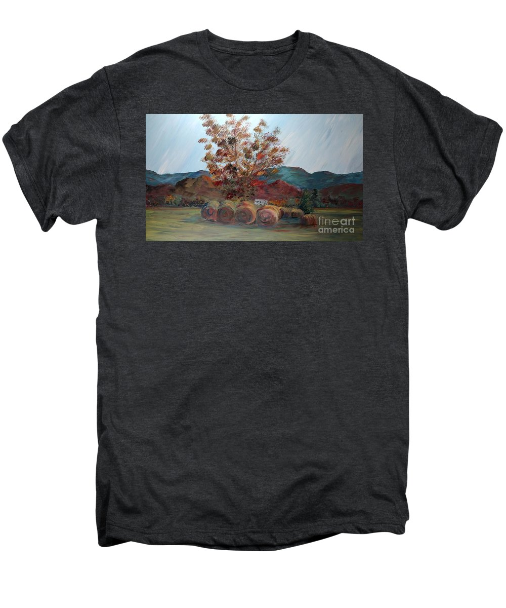 Autumn Men's Premium T-Shirt featuring the painting Arkansas Autumn by Nadine Rippelmeyer