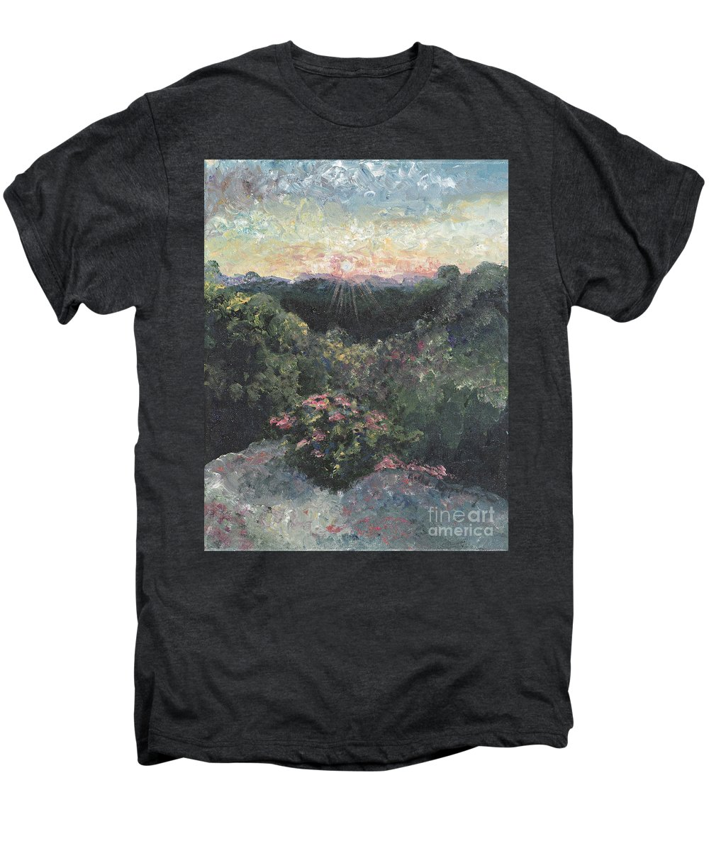 Landscape Men's Premium T-Shirt featuring the painting Arkansas Mountain Sunset by Nadine Rippelmeyer