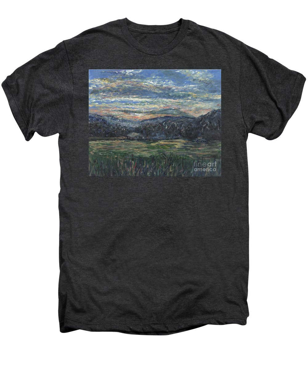 Impressionism Men's Premium T-Shirt featuring the painting Arkansas Sunrise by Nadine Rippelmeyer