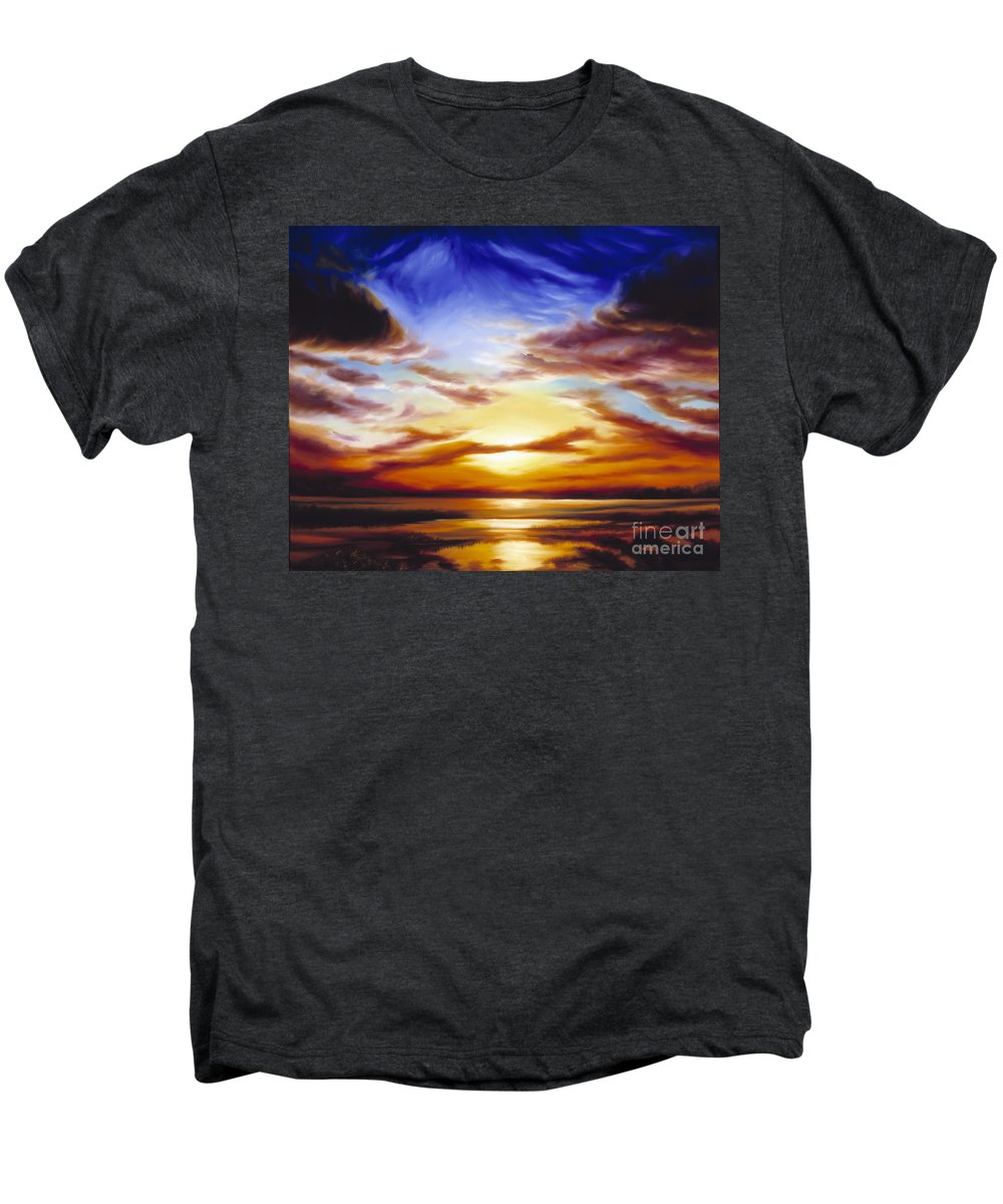 Skyscape Men's Premium T-Shirt featuring the painting As The Sun Sets by James Christopher Hill