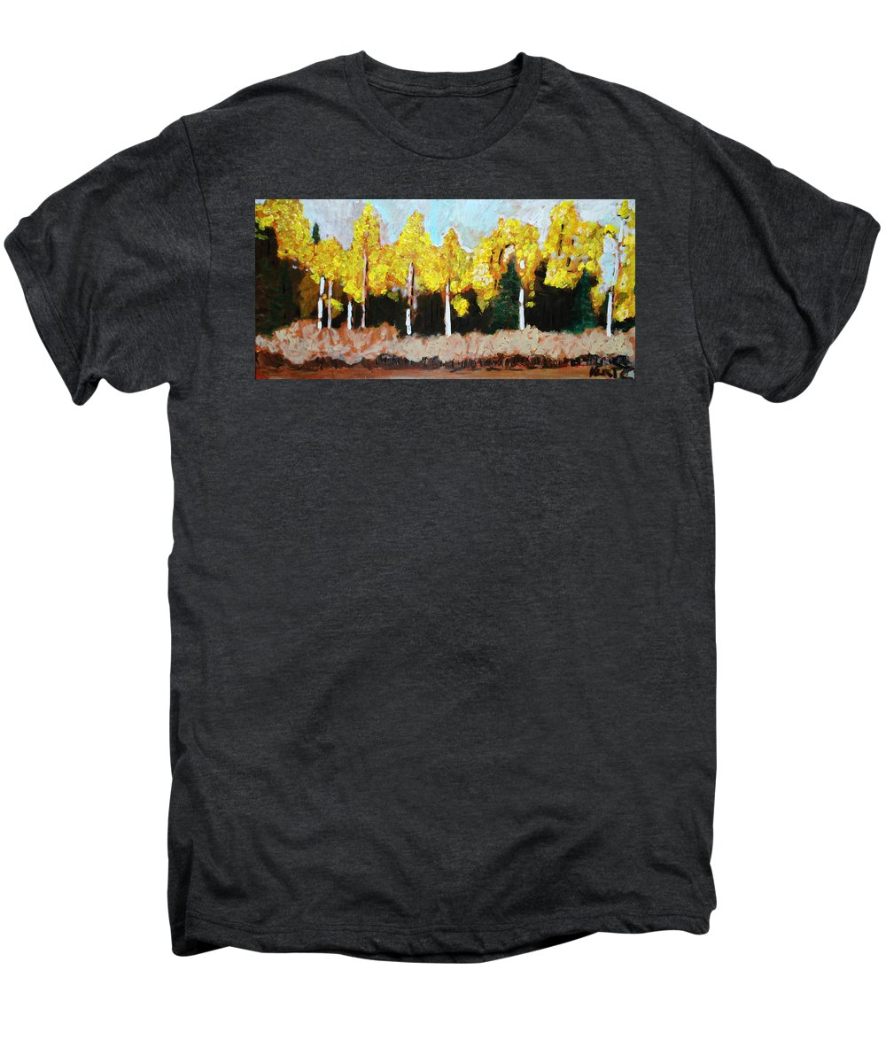 Fall Men's Premium T-Shirt featuring the painting Aspens by Kurt Hausmann