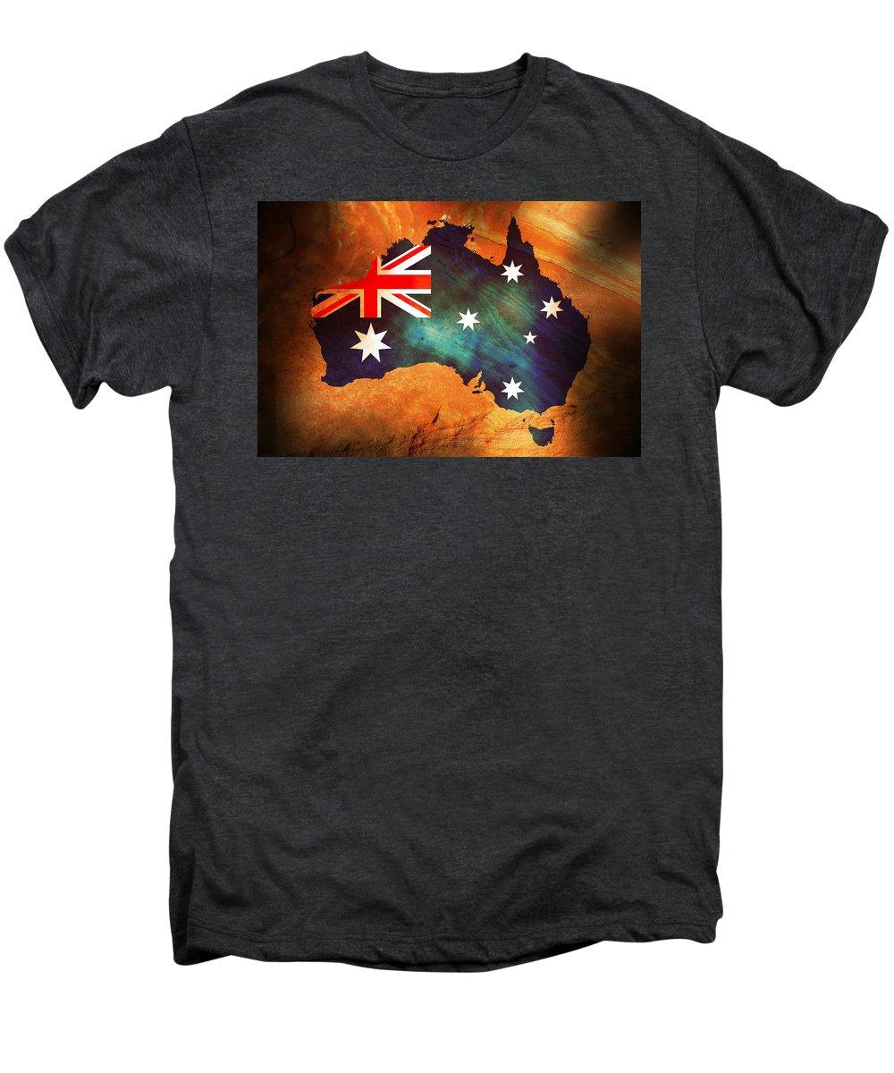 Australia Men's Premium T-Shirt featuring the photograph Australian Flag On Rock by Phill Petrovic