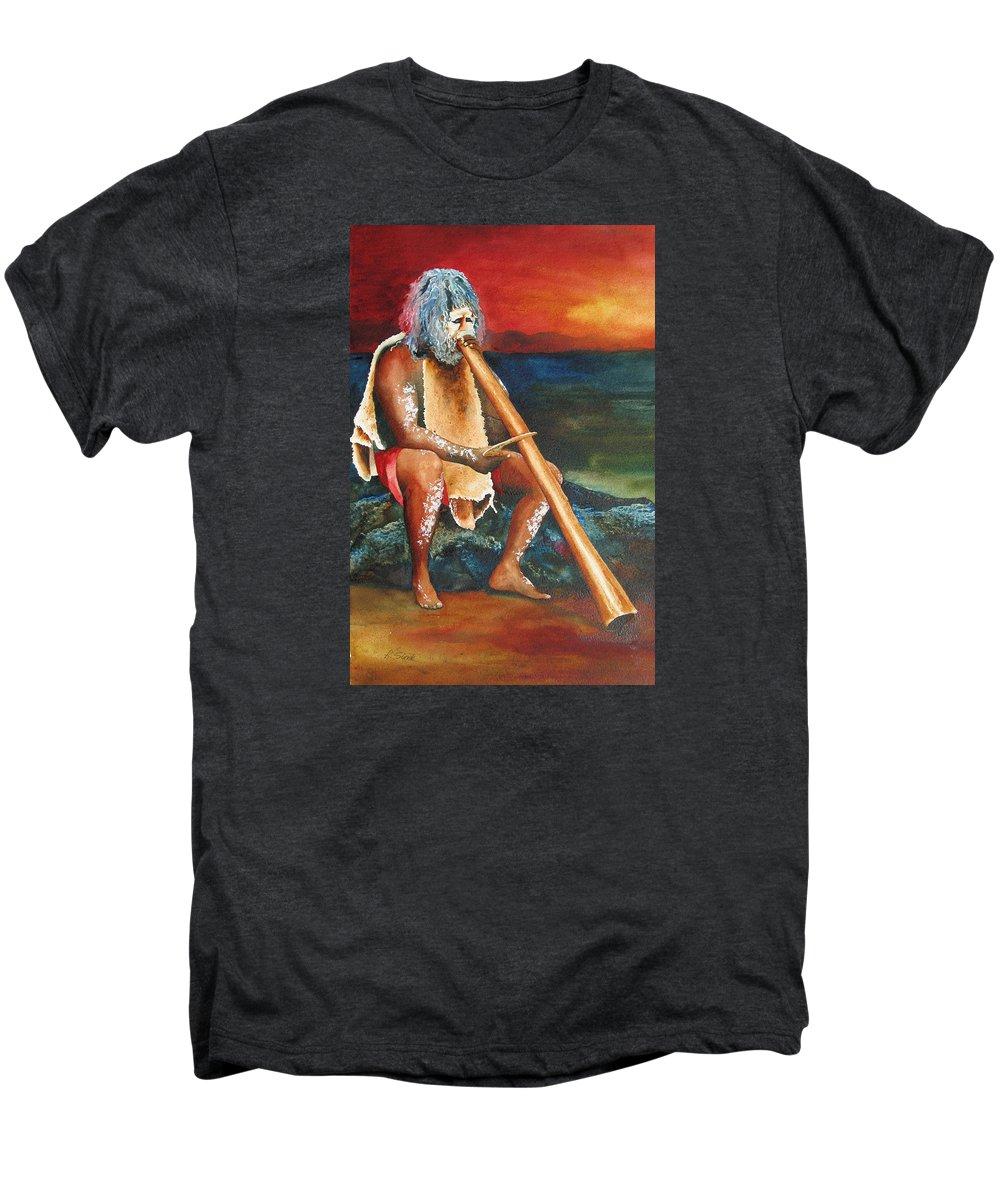 Australian Men's Premium T-Shirt featuring the painting Australian Solo by Karen Stark