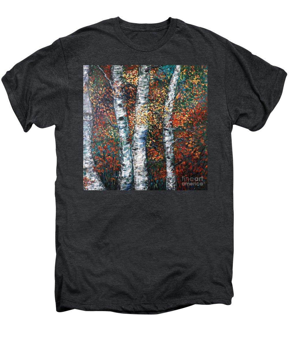Birch Men's Premium T-Shirt featuring the painting Autumn Birch by Nadine Rippelmeyer