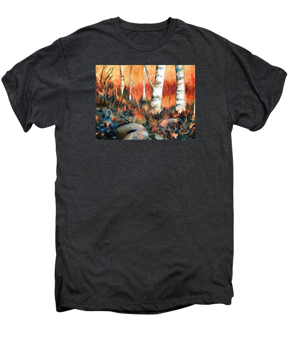 Landscape Men's Premium T-Shirt featuring the painting Autumn by Karen Stark
