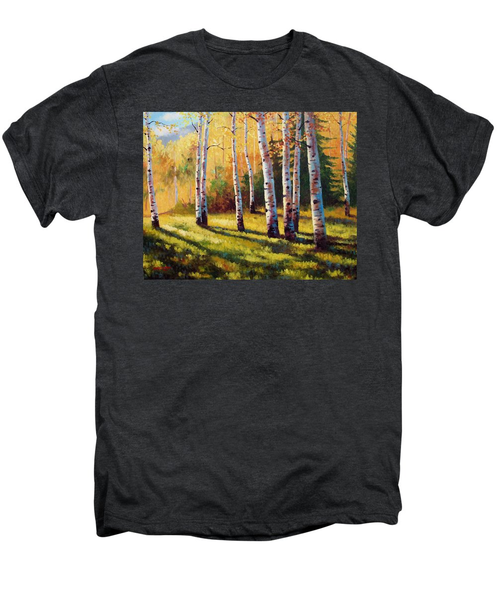 Landscape Men's Premium T-Shirt featuring the painting Autumn Shade by David G Paul