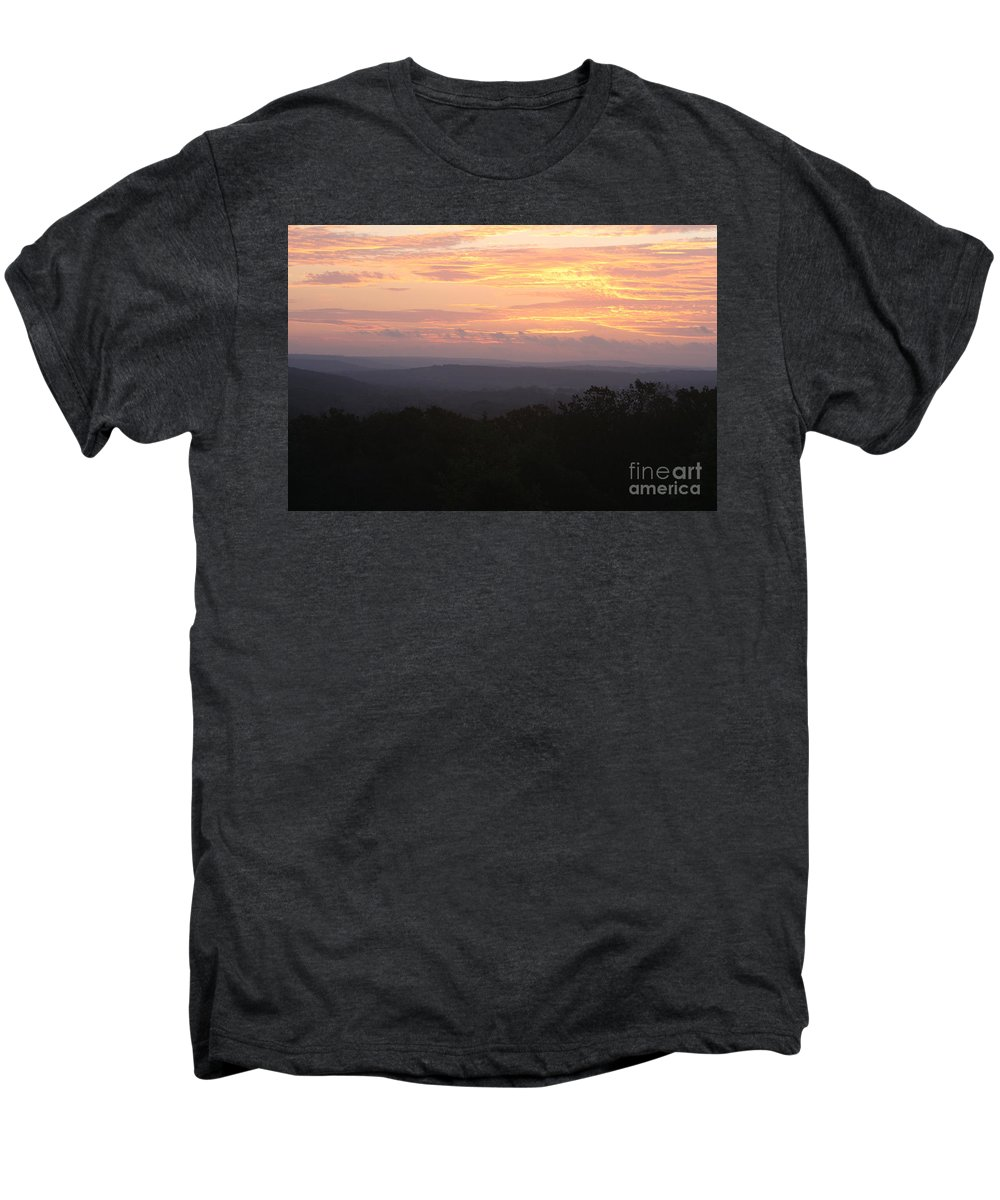 Sunrise Men's Premium T-Shirt featuring the photograph Autumn Sunrise Over The Ozarks by Nadine Rippelmeyer