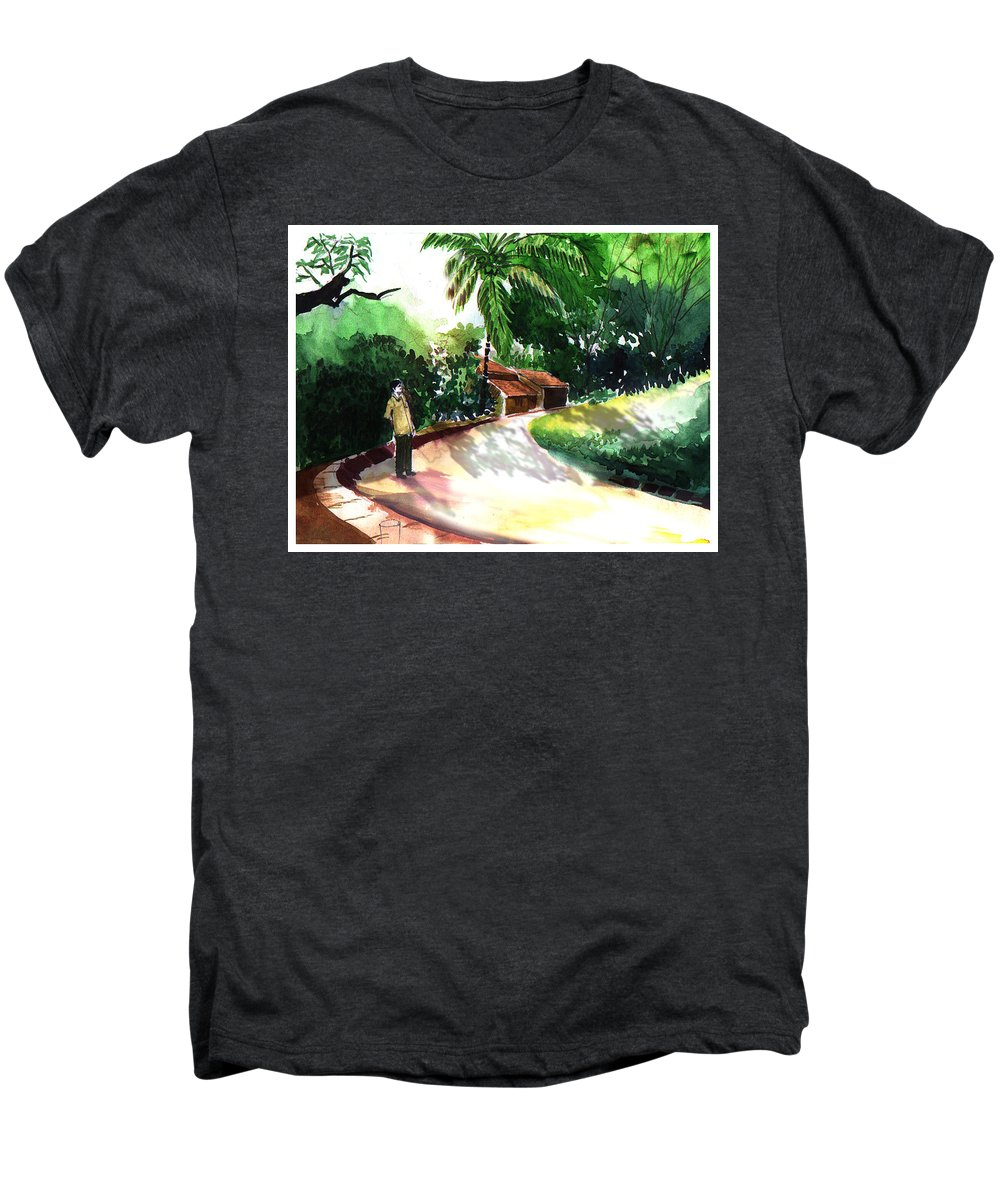 Water Color Watercolor Landscape Greenery Men's Premium T-Shirt featuring the painting Awe by Anil Nene