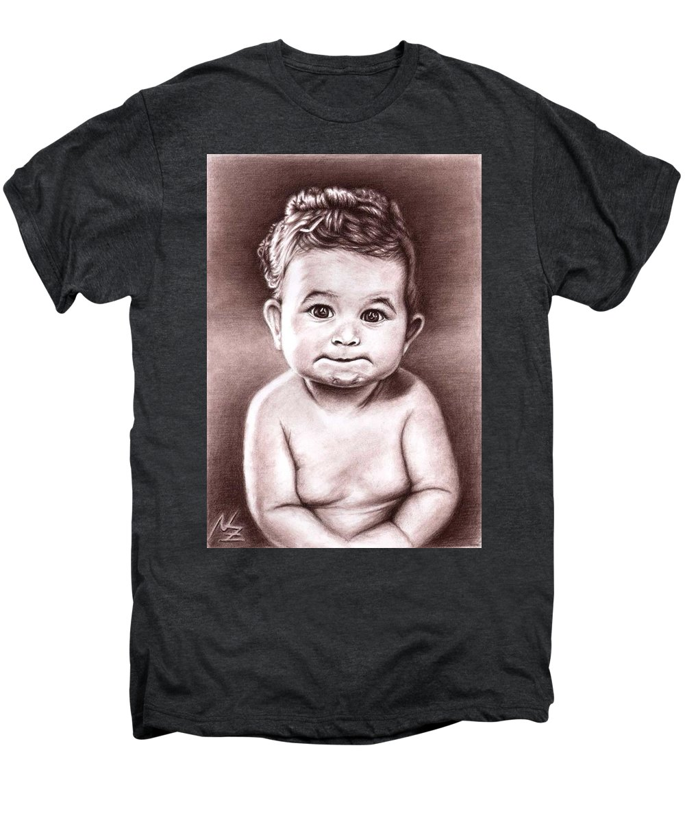 Baby Child Kind Enfant Face Sepia Charcoal Portrait Realism Men's Premium T-Shirt featuring the drawing Babyface by Nicole Zeug
