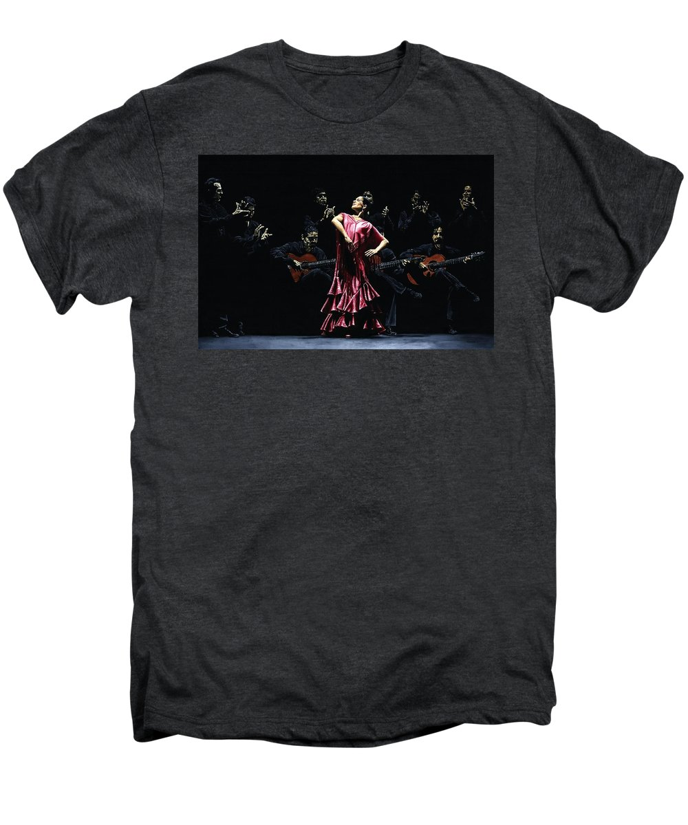 Flamenco Men's Premium T-Shirt featuring the painting Bailarina Orgullosa Del Flamenco by Richard Young