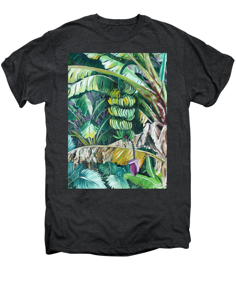 Caribbean Painting Bananas Trees P Painting Fruit Painting Tropical Painting Men's Premium T-Shirt featuring the painting Bananas by Karin Dawn Kelshall- Best
