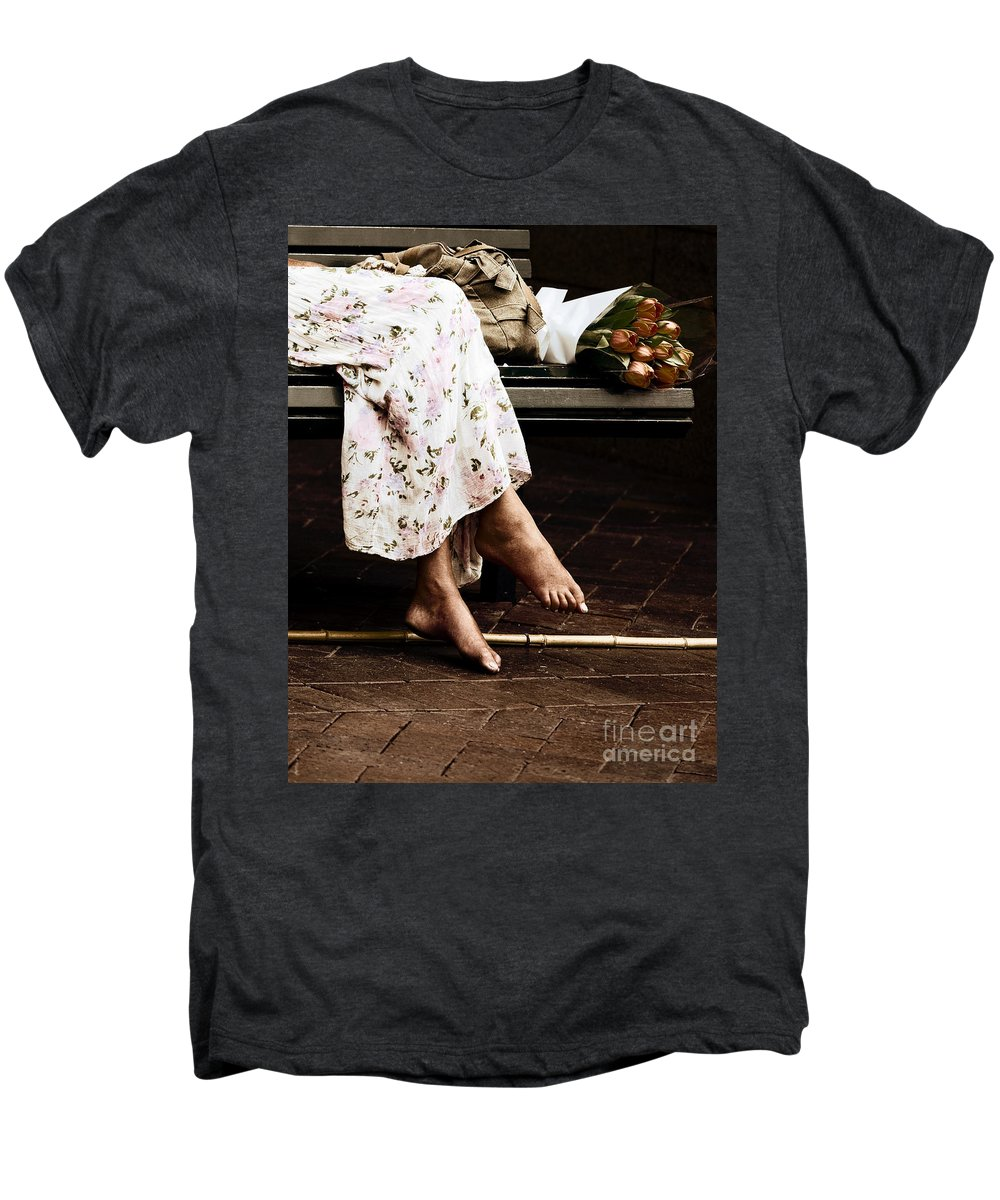 Barefeet Feet Barefoot Tulips Men's Premium T-Shirt featuring the photograph Barefoot And Tulips by Sheila Smart Fine Art Photography