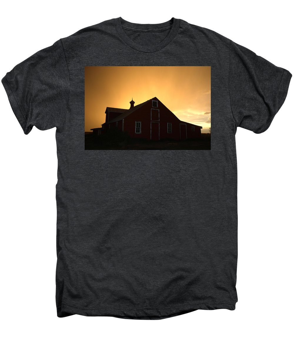 Barn Men's Premium T-Shirt featuring the photograph Barn At Sunset by Jerry McElroy