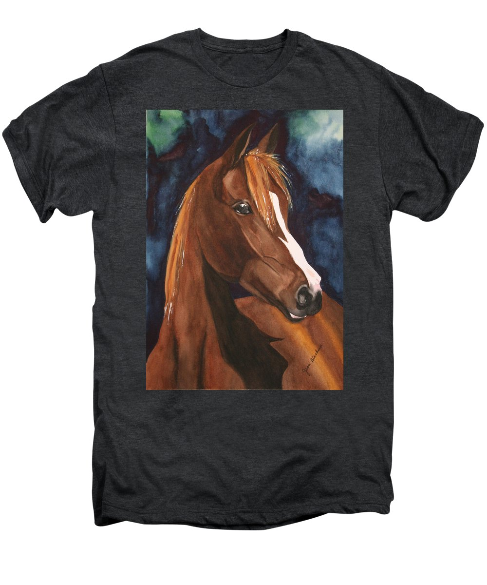 Horse Men's Premium T-Shirt featuring the painting Bay On Blue 2 by Jean Blackmer