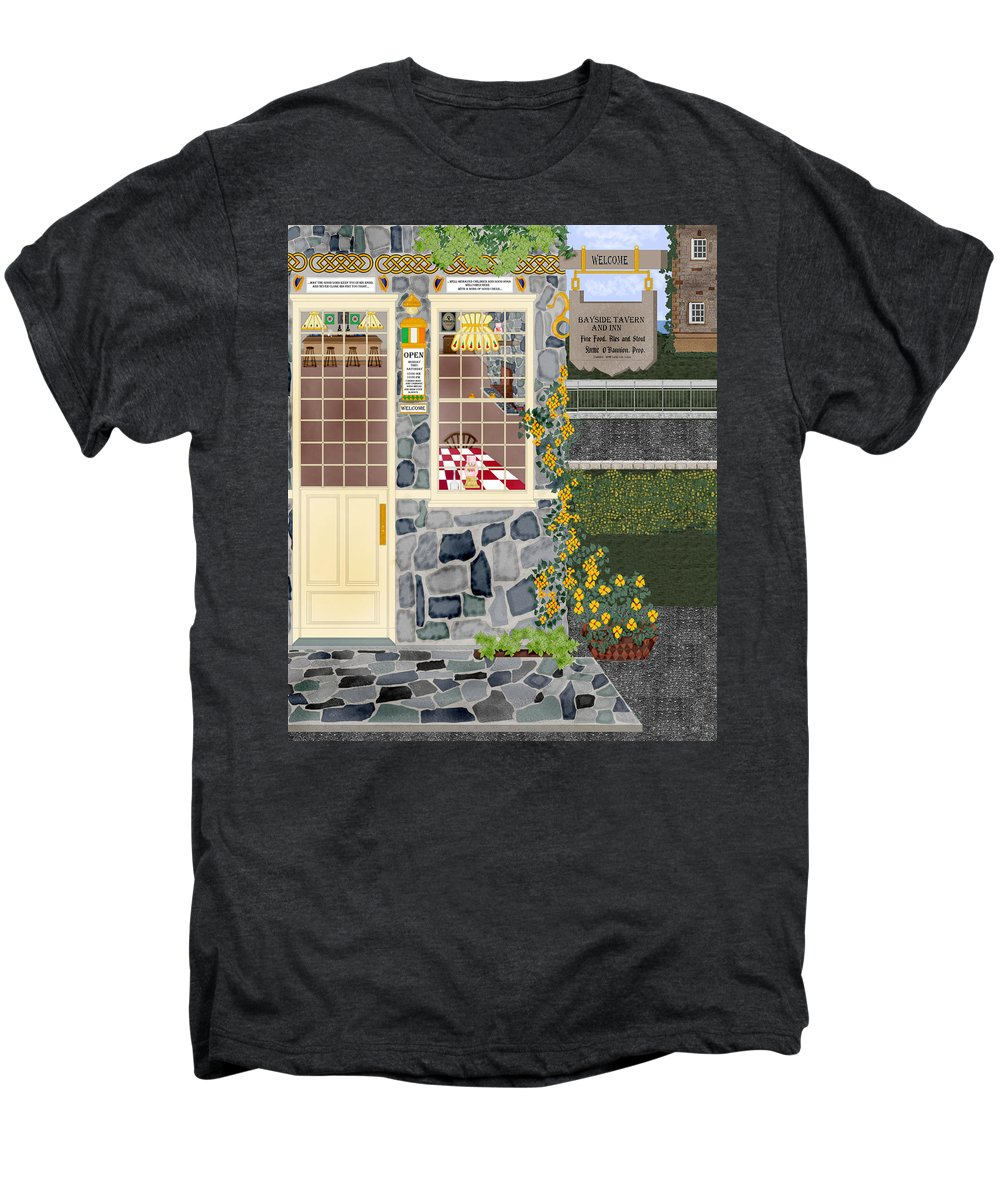 Quaint Inn Men's Premium T-Shirt featuring the painting Bayside Inn And Tavern In Ireland by Anne Norskog