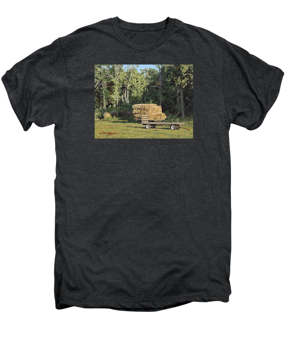 Landscape Men's Premium T-Shirt featuring the painting Behind The Grove by Bruce Morrison