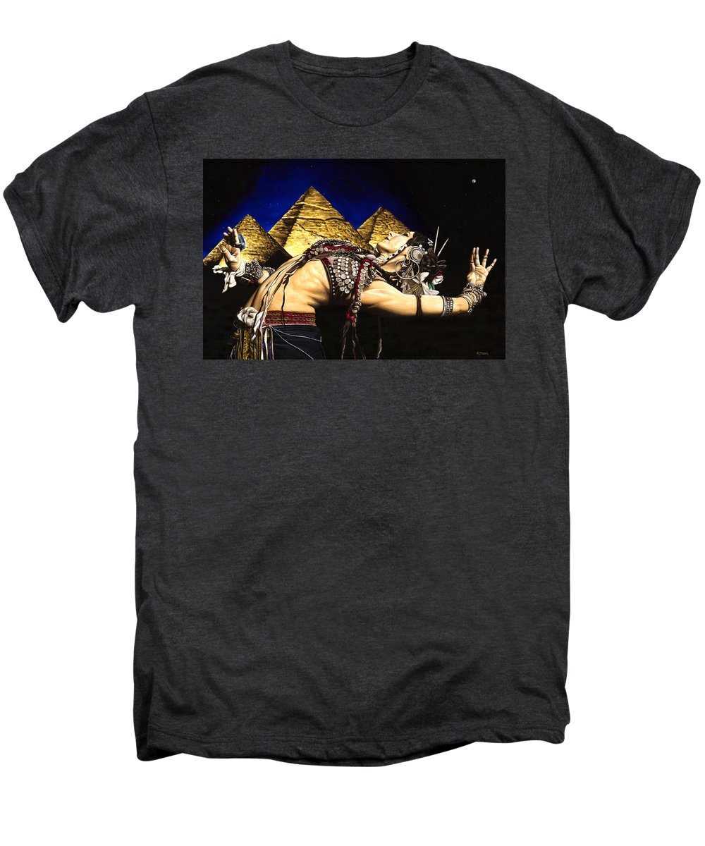 Bellydance Men's Premium T-Shirt featuring the painting Bellydance Of The Pyramids - Rachel Brice by Richard Young